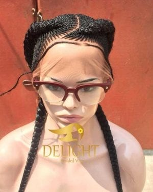 Full Lace Braided Wig color 1B- Princess