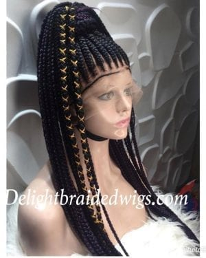 Full Lace Braided Wig color 1B- Gladys