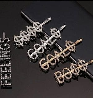Hair Pins with Letter. Bling Rhinstone Women Word Hair Pins