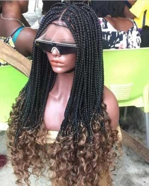 Box Braid Wig with Curly- Susan