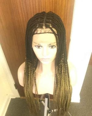 Ready to ship Knotless Box Braids Wig 1/27 Ombre HD Lace